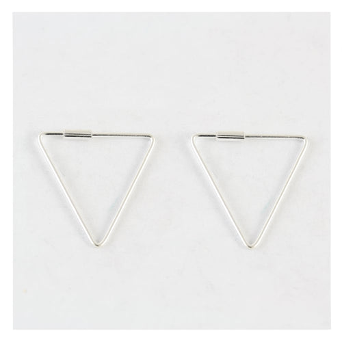 Triangle Hoop Earrings, Sterling Silver