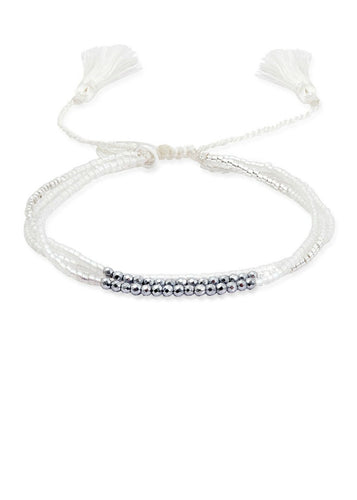Boho Betty Three Strand Friendship Bracelet with Tassels, White