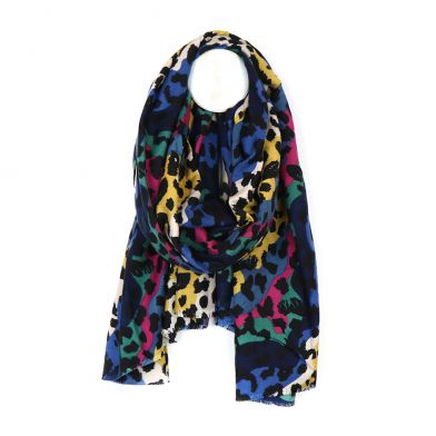 Leopard Animal Soft Brushed Printed Scarf, Bright