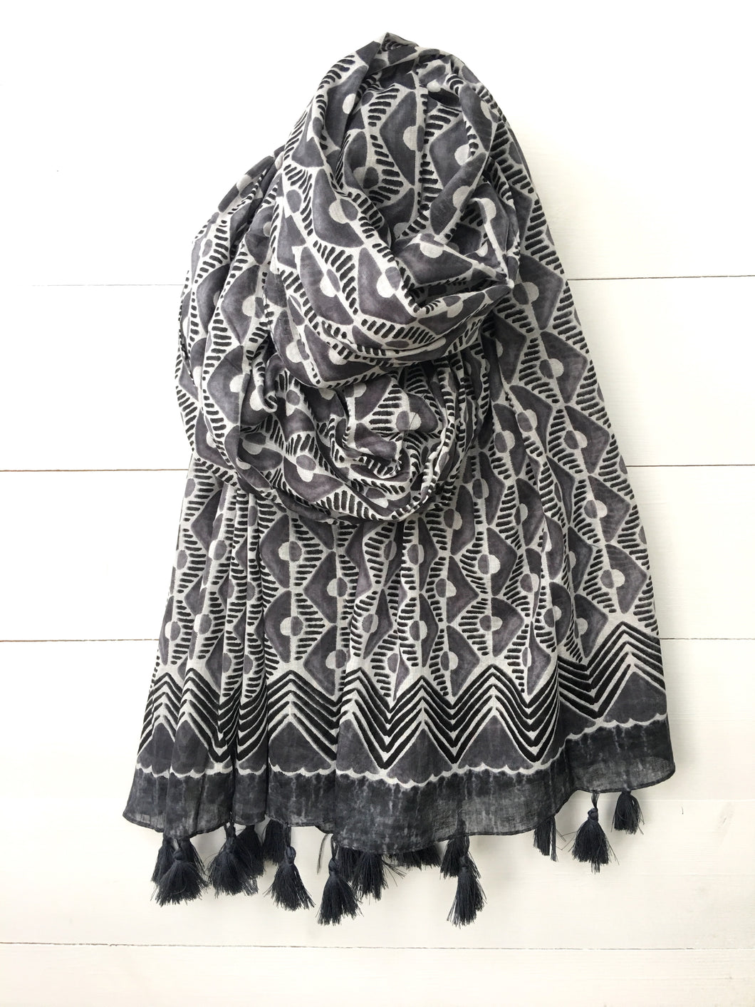 Porth Print Cotton Long Scarf with Tassels, Steel Grey