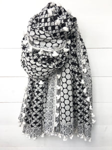 Scallops & Circles Cotton Long Scarf with Tassels, Black & White