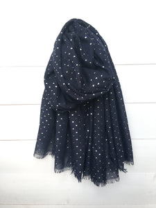 Metallic Silver Foil Heart Long Scarf, Navy