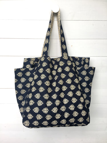 Reversible Cotton Bag, Lotus & Starburst