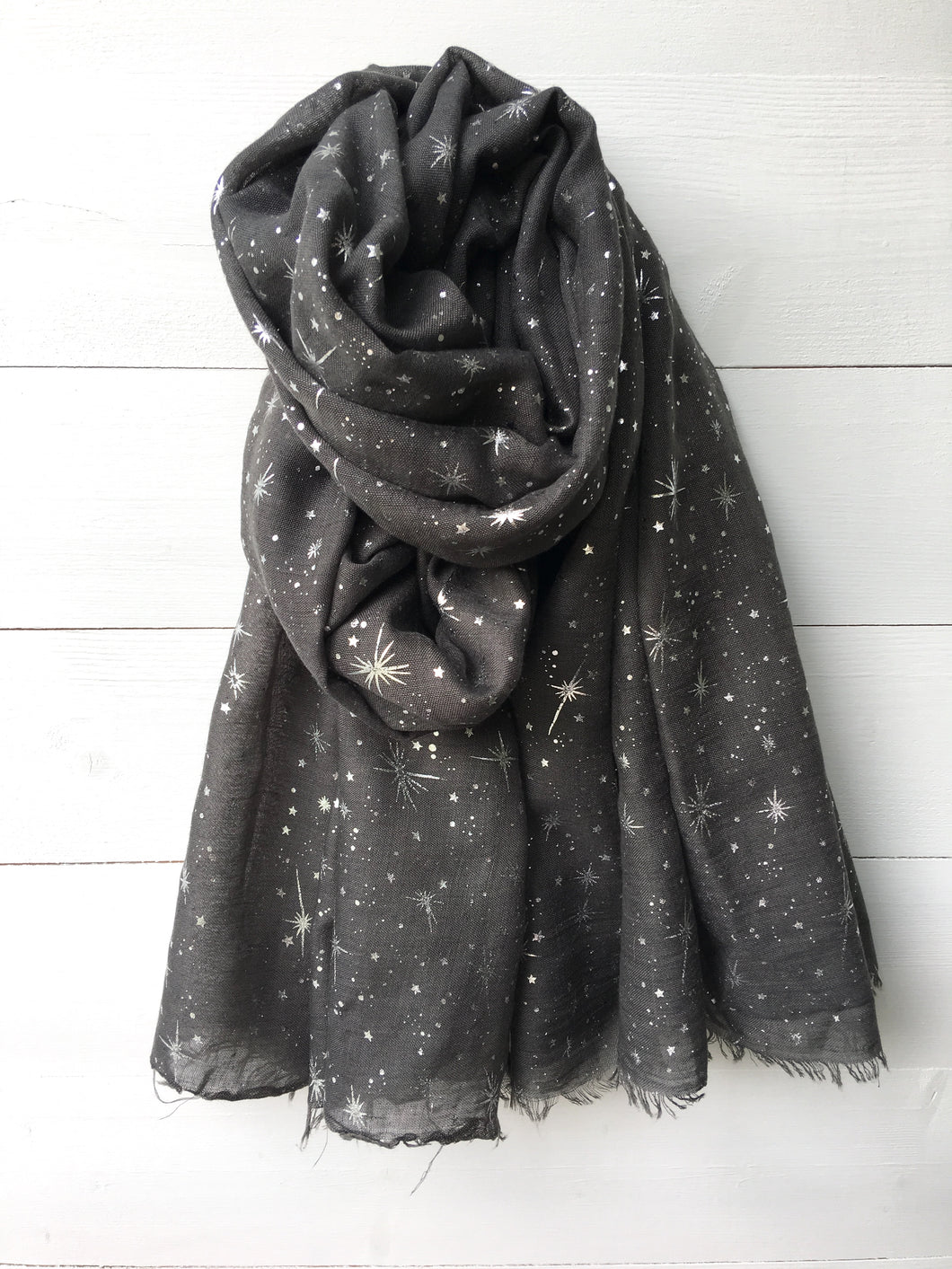 Metallic Silver Foil Starburst Long Scarf, Dark Grey