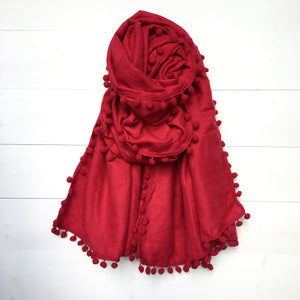 Pom Pom Small Thick Plain Scarf - Red