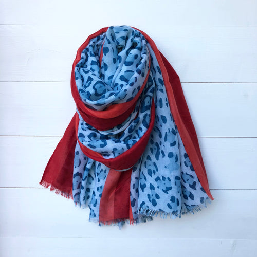 Animal Leopard Print Scarf with 2 Tone Border, Blue & Red