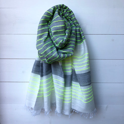 Woven Scarf, Grey & Neon Yellow