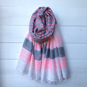 Woven Scarf, Grey & Neon Pink