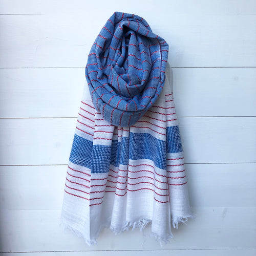 Woven Scarf, Blue & Red