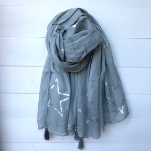 Metallic Silver Foil Star Print Cotton Scarf with Corner Tassels, Light Grey
