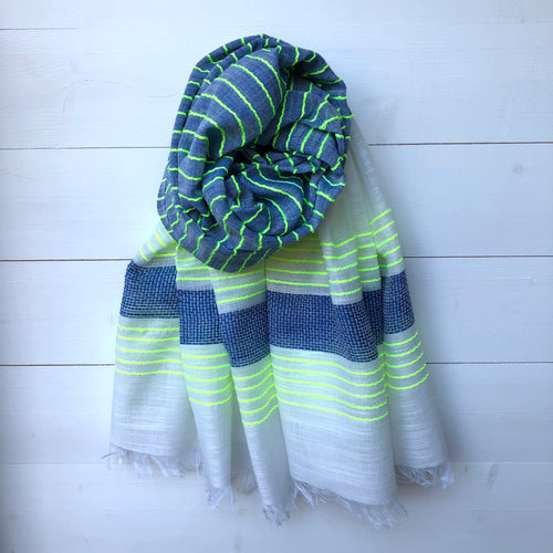 Woven Scarf, Blue & Neon Yellow