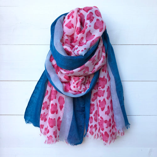 Animal Leopard Print Scarf with 2 Tone Border, Pink & Blue