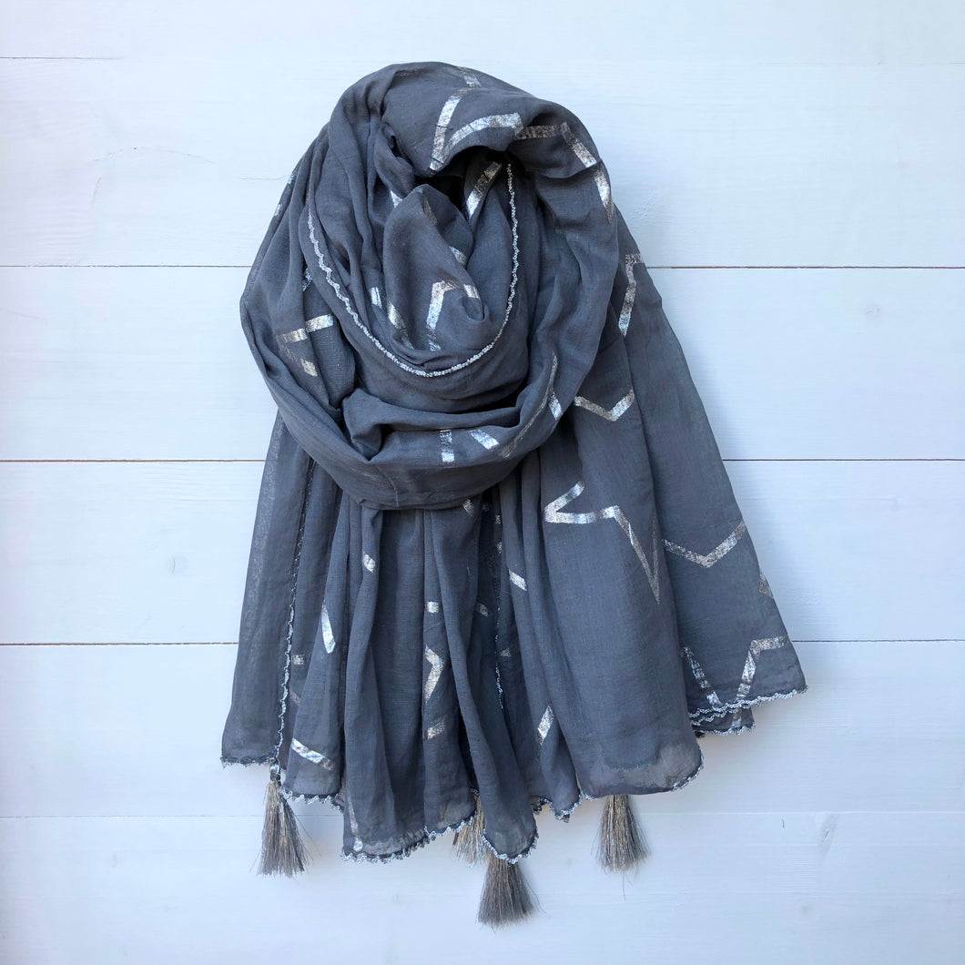 Metallic Silver Foil Star Print Cotton Scarf with Corner Tassels, Dark Grey