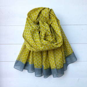 Triangle & Stripe Print Cotton Scarf with Block Edge, Mustard