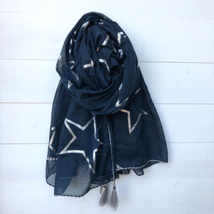 Metallic Silver Foil Star Print Cotton Scarf with Corner Tassels, Navy