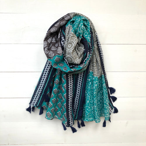 Boho Print Cotton Scarf with Tassels, Grey & Turquoise