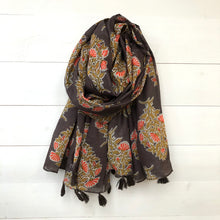Floral Print Cotton Scarf with Tassels, Olive & Orange