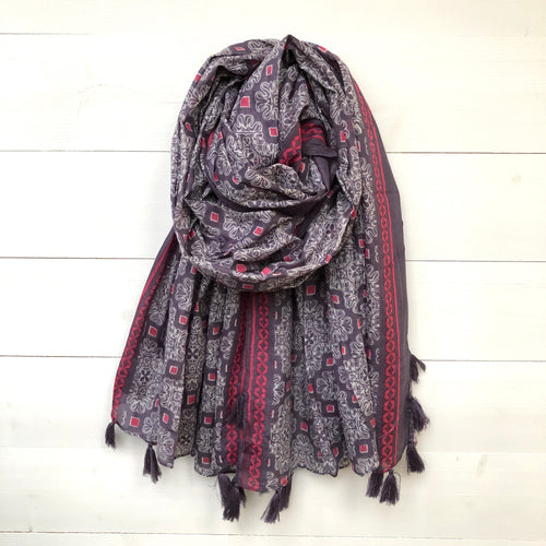 Tile Print Cotton Scarf with Tassels, Purple & Pink