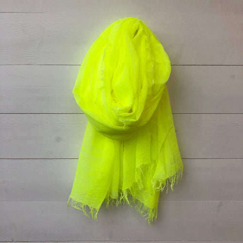 Tie Dye Wash Effect Scarf, Neon Yellow