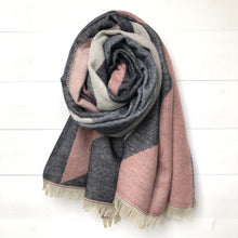 Geometric Colour Block Blanket Scarf, Pink