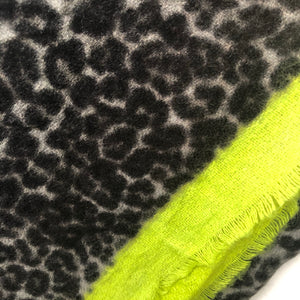 Leopard Blanket Border Scarf, Yellow