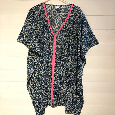Animal Leopard Print Kaftan with Neon Trim, Grey & Neon Pink