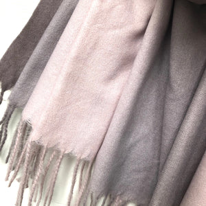 Ombre Blanket Long Scarf, Pink & Grey