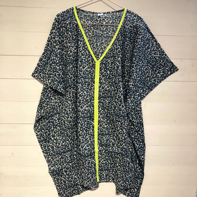 Animal Leopard Print Kaftan with Neon Trim, Grey & Neon Yellow
