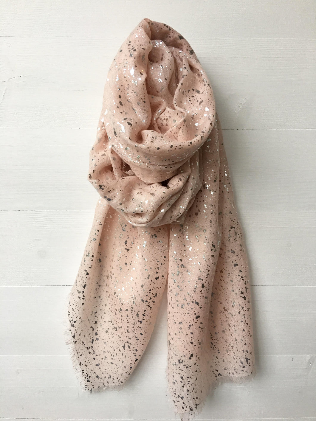 Metallic Silver Foil Speckle Long Scarf, Blush Pink