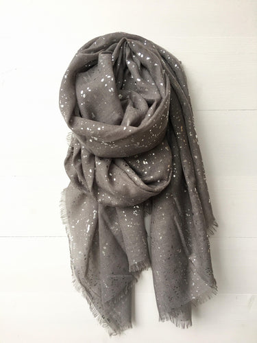Metallic Silver Foil Speckle Long Scarf, Dark Grey