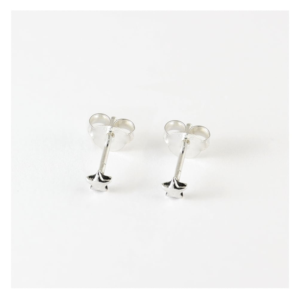 Mini Star Stud Earrings, Sterling Silver