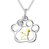 Gold Dog Paw Print Pendant (Sterling Silver)