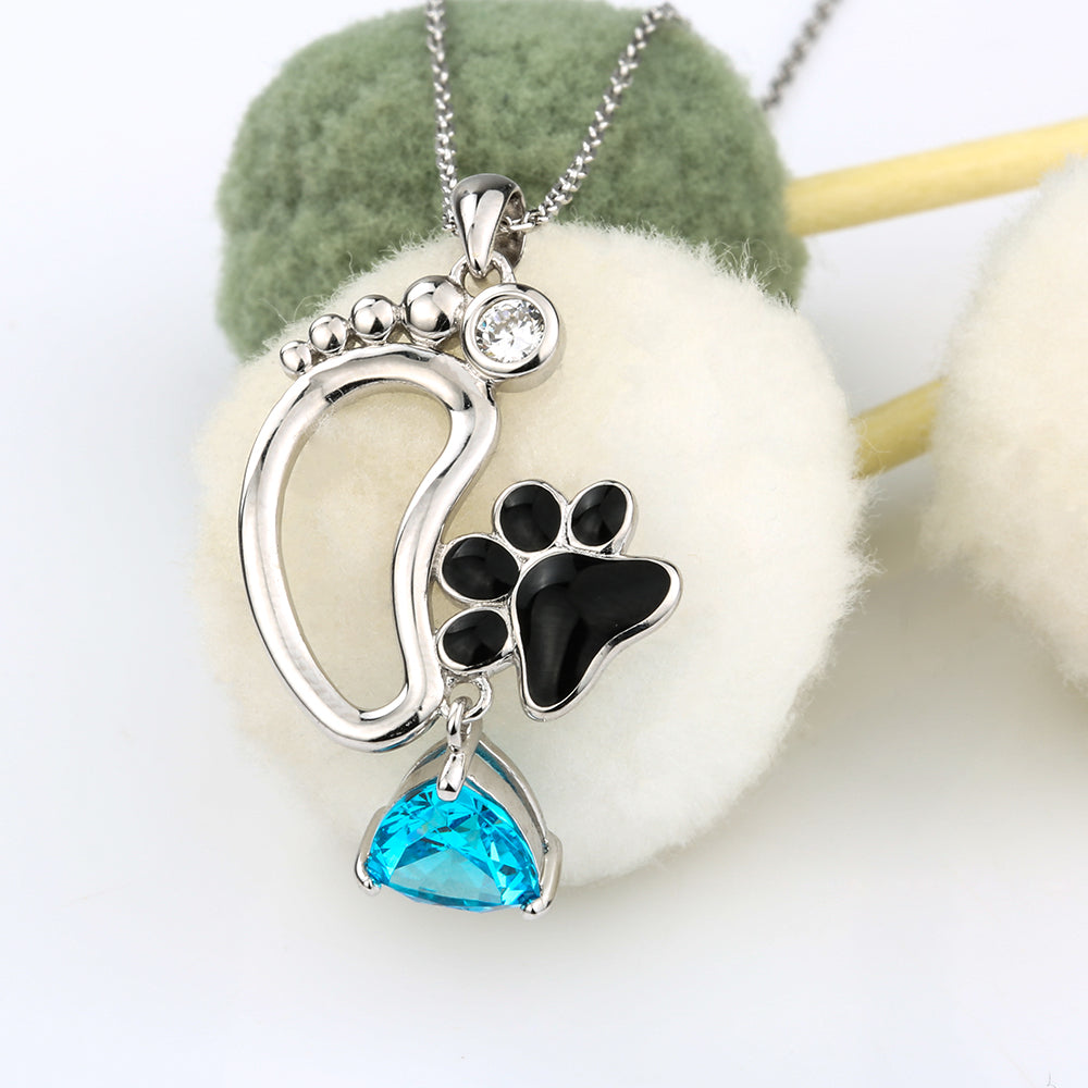 Foot paw print pendant necklace sterling silver pup bling foot paw print pendant necklace sterling silver aloadofball Gallery