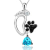 Foot & Paw Print Pendant Necklace (Sterling Silver)