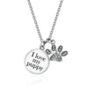 Medallion Necklace & Paw Print Charm (Sterling Silver)