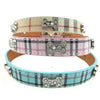 Rhinestone Bone & Plaid PU Leather Collar