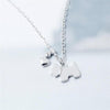 Puppy Pendant & Heart Charm Necklace (Sterling Silver)