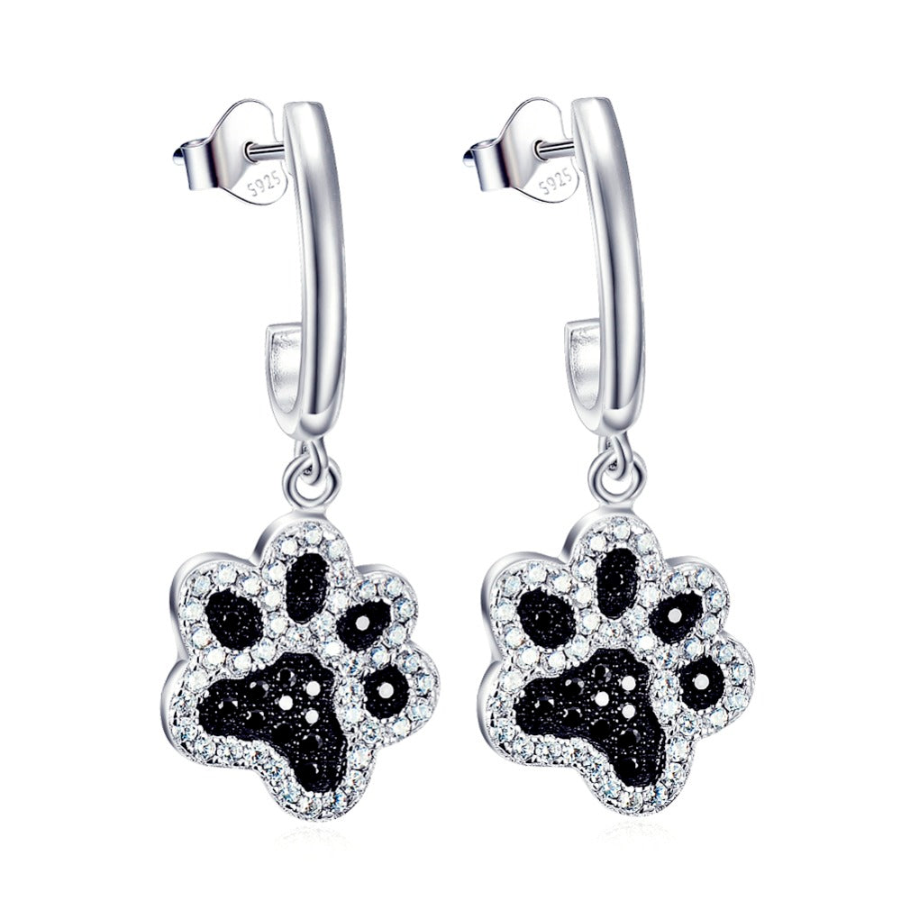 Paw Prints Heart Shaped Charm (Sterling Silver) - Pup Bling