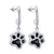 Black & White Crystal Paw Print Earrings (Sterling Silver)
