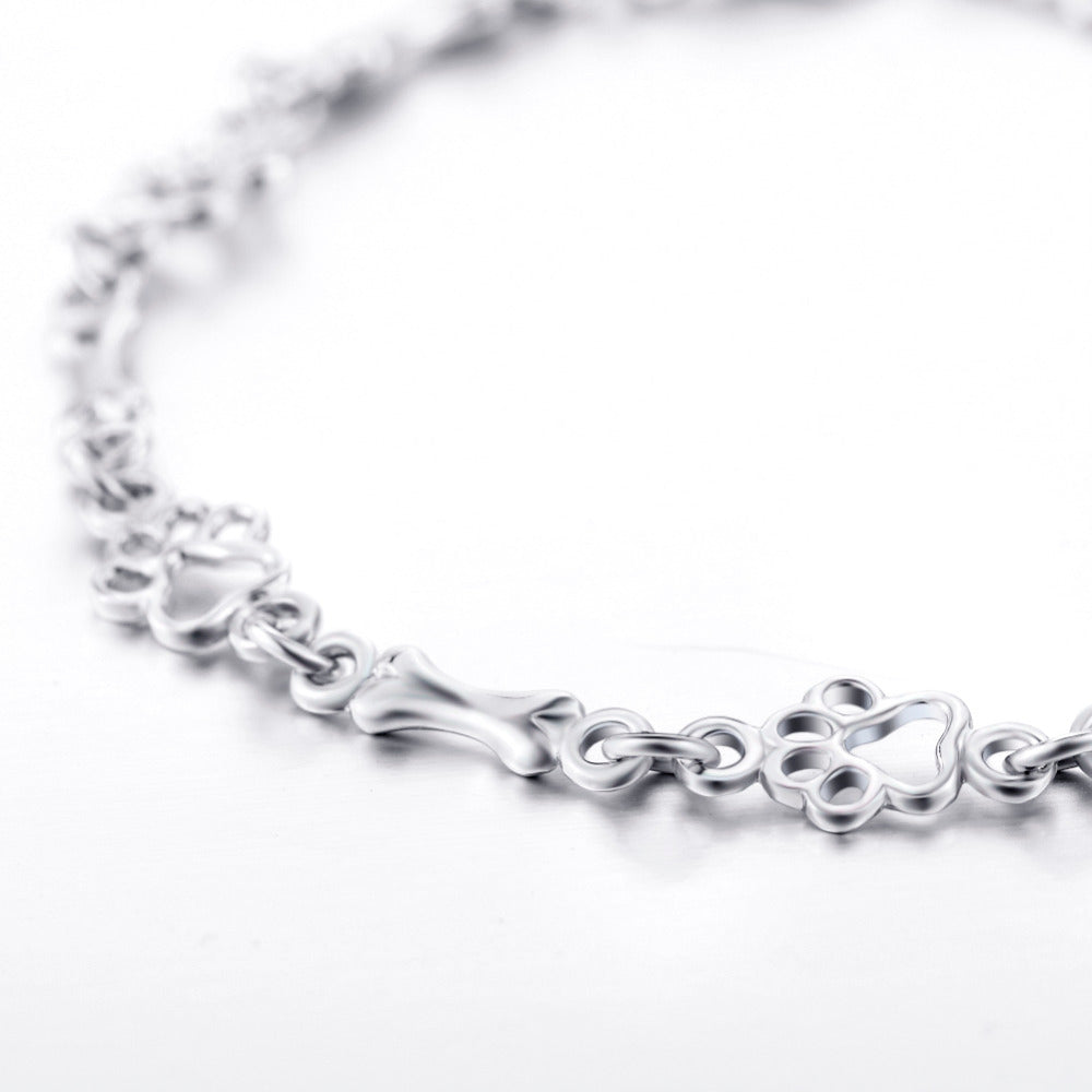 229081eed42 Dog Paw and Bone Bracelet (Sterling Silver) - Pup Bling