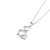 Crystal Doggy Heart Pendant Necklace (Sterling Silver)