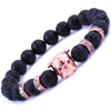 Lava Volcanic Stone Beads Bracelet with Crystal Accents