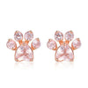 Rose Gold & Gemstone Paw Stud Earrings (Sterling Silver)