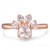 Rose Gold & Gemstone Paw Ring (Sterling Silver)