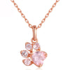 Rose Gold & Gemstone Paw Pendent Necklace (Sterling Silver)