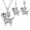 Rhinestone Puppy Pendant & Key Chain Set (Sterling Silver)