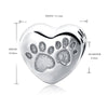 Paw Prints Heart Shaped Charm (Sterling Silver)