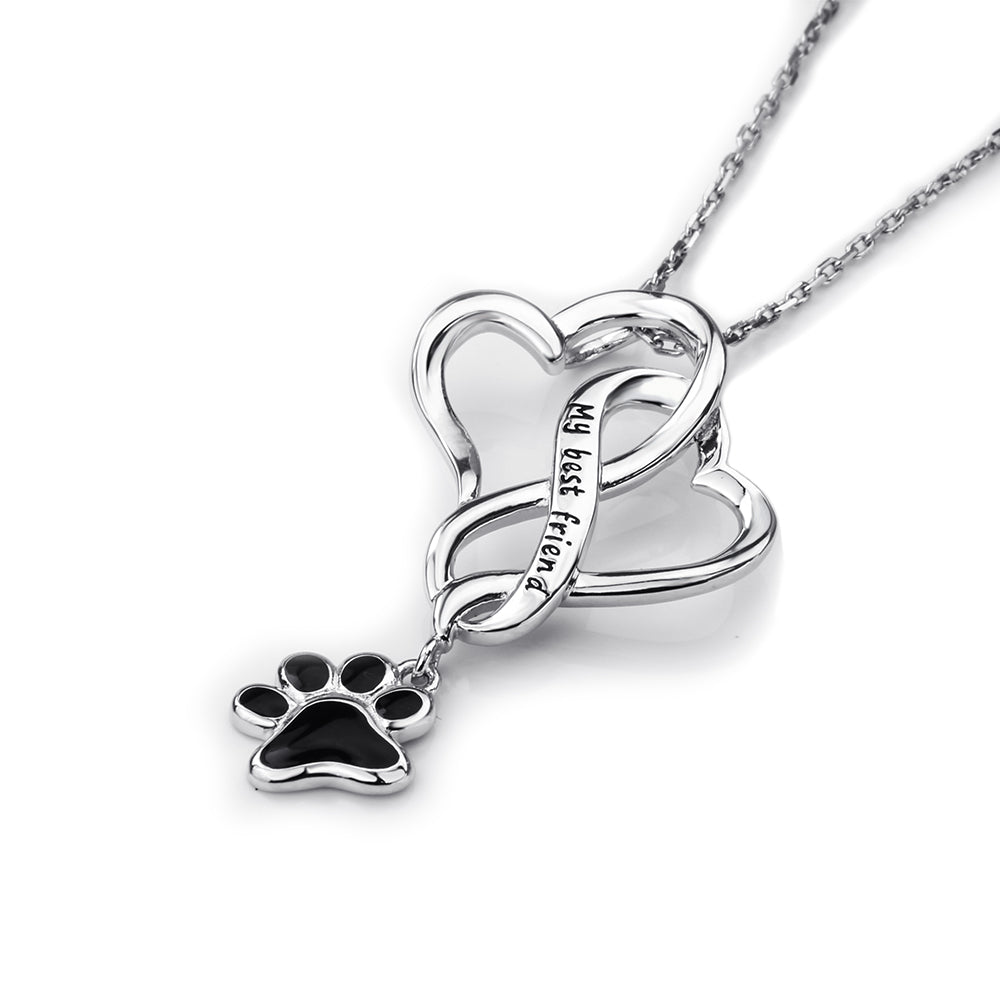 Double heart paw print pendant necklace sterling silver pup bling double heart paw print pendant necklace sterling silver aloadofball Gallery