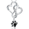 Double Heart Paw Print Pendant Necklace (Sterling Silver)