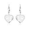Heart Drop Paw & Bone Earrings (Sterling Silver)